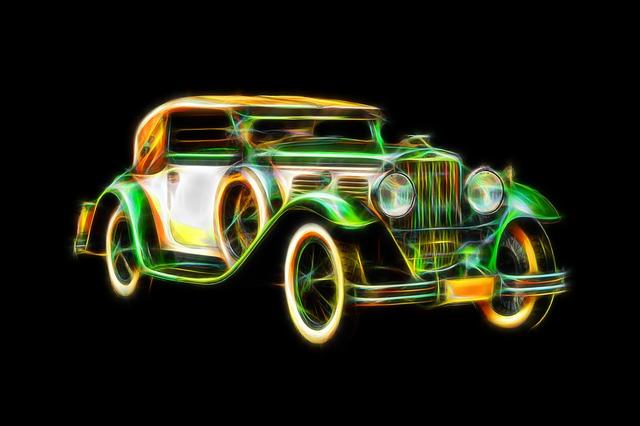 zářící auto
